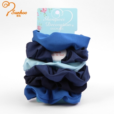 Blue fancy scrunchies for girls H-0014